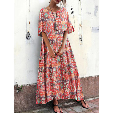 Bohemian Women Loose Floral Print O-Neck Short Sleeve Side Pockets Dress