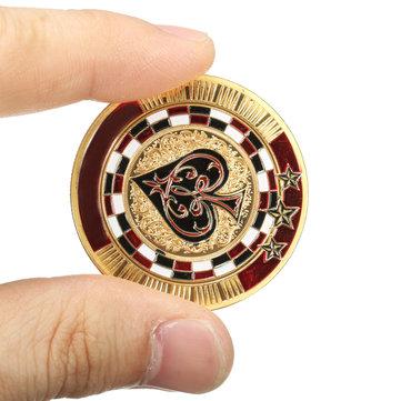 メタルポーカーガードカードゴールドメッキラウンドプラスチックケースプロテクターコインチップ