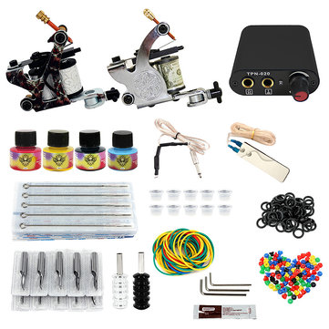 8-10V Professional 2 Tattoo Machine Tools Kit Equipment Power Supply