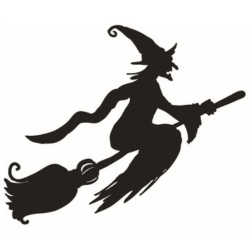 Hallowen Witch Broom Showcase Glass Window Decor Wall Sticker Party House Home Decoration Creative Decal DIY Mural Wall Art Sticker