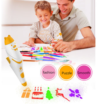 Watercolor Pen 12 Colors With Painting Templates Dust-Free Cloth Battery Operated Toys