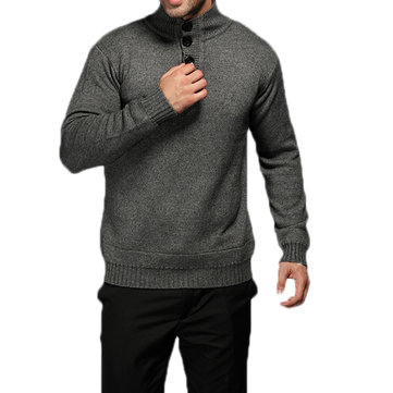 Men's Casual Thick Cashmere Knitted Sweater Buttons Design Stand Collar Loose Warm Pullover
