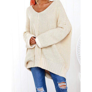 Oversized Daily Causal V-neck Batwing Sleeve Knit Sweaters