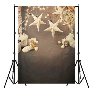 Retor Christmas Decors Balls Stars Branch Photo Studio Background Backdrop