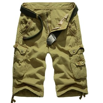Summer Mens Cotton Breathable Beach Shorts Big Pockets Washed Solid Color Cargo Shorts