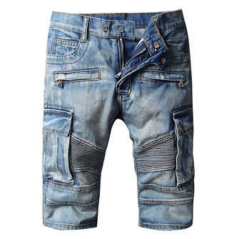 Mens Fashion Motorcycle Jeans Knee Length Worn Washed Plus Size Denim Shorts
