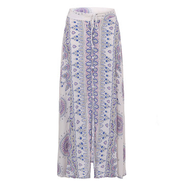 Bohemian Women Floral Front Button Drawstring Split Maxi Skirt