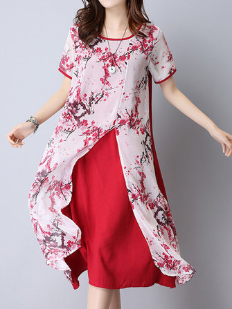 Floral Printed Fake Two Pieces Chiffon Dresses