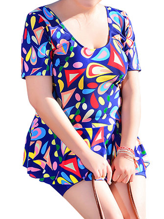Conservative High Waisted Printing Bathing Suit Boyshorts Brathable Beachwear Skirt