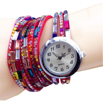 Colorful Rhinestone Wrap Long Strap Women Analog Bracelet Watch