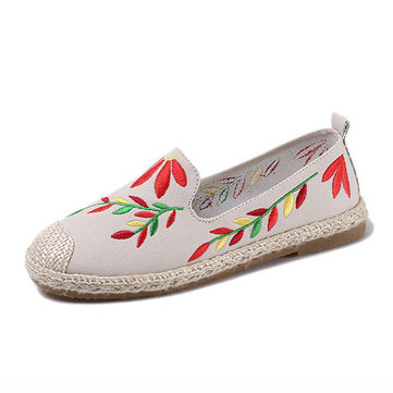 Women Casual Embroidered Flower Cloth Flat Loafers