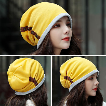 Unisex Winter Buckled Pleated Pile Cap Outdoor Riding Beanie