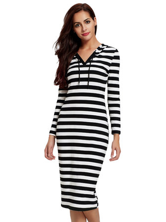 Casual Women Stripe V-Neck Hooded Long Sleeve Maxi Dress