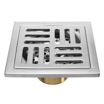 100x100mm Stainless Steel Square Shower Floor Drain with Tile Insert Grate Removable Cover