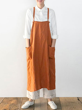 Japanese Sleeveless Strap Linen Apron Solid Dress