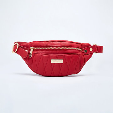Women Stitching Chest Bag Leisure Minimalist Fashion Bum Bag Solid Waist Bag