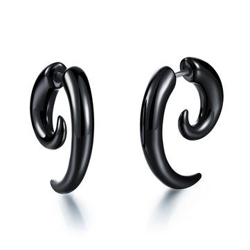 Punk Black Snail Acrylic Ear Stud Horns Unisex Earring
