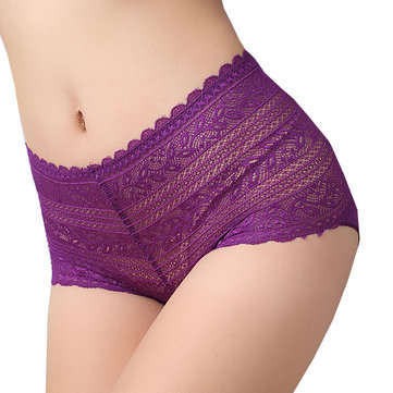 Sexy See Through Briefs Floral Lace Mid Waist Cotton Breathable Panties