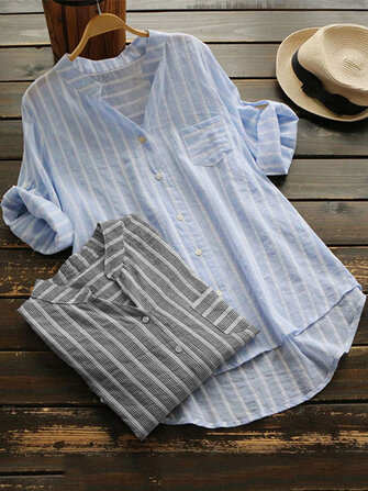 Women Stripe V-neck Buttons 3/4 Sleeve Irregular Blouse