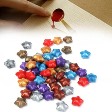 50Pcs Mixed Color Lucky Star Wax Seal Ring Pentagram Stamp Accessories