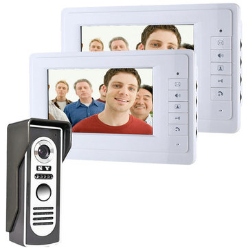 ENNIO SY819M12 7 Inch Video Door Phone Doorbell Intercom System Kit 1-camera 2-monitor Night Vision