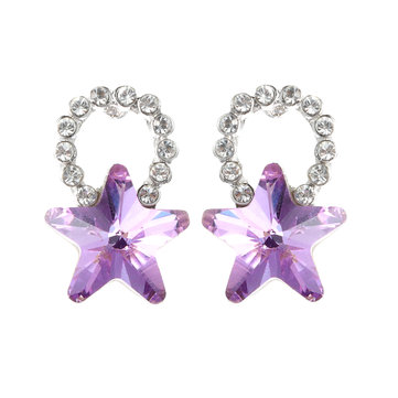 Fashion Silver Earring Blue Purple Colorful Stars Ear Stud Cute Crystal Rhinestones