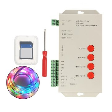 DC5-24V T1000S SD Card LED Pixel RGB Full Color Controller for WS2812B 6803 WS2811 Strip Light