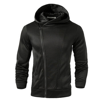 Mens Zip Up Pure Color Soft Sport Hoodies