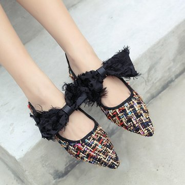 Large Size Knitting Bow Casual Flats Shoes For Women