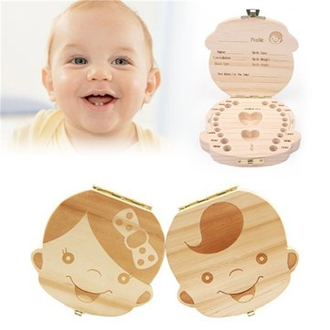 Baby Milk Teeth Wooden Storage Case Save Box Hair Holder Organizer for Girls Boys New Tooth Organizer Holder Gift Spanish English