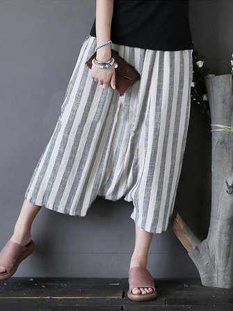 Casual Women Striped Side Pockets Drop Crotch Capri Pants