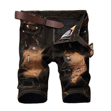 Vintage Ripped Personalized Fashion Elastic Knee Length Short Jeans for Men