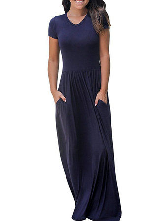 Women Solid Color O-neck Maxi dress