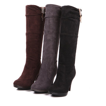 Big Size Winter Women Knee Boot High Heel Boots Slip On Boots