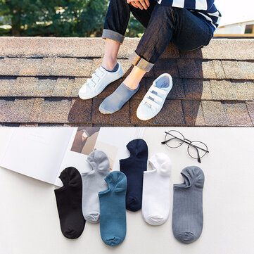 Men Cotton Thin Breathable Boat Socks Casual Solid Good Elastic Short Socks