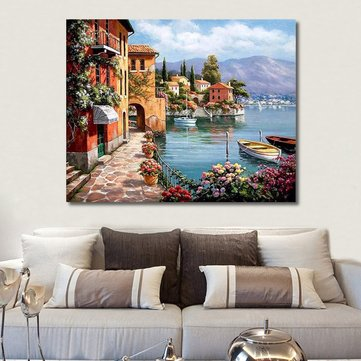 RUOPOTY Venice Resorts Seascape DIY Painting By Numbers Handpainted Oil Painting Living Room Home Wall Decor Artwork 40x50cm