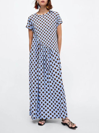 Women Short Sleeve Polka Dot Print Stitching Long Maxi Dress