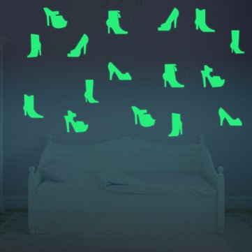 12PCS 7x8cm Fluorescent Glow High-heeled Shoes Wall Sticker
