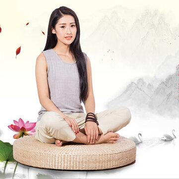 50cm Round Pouf Tatami Cushion Floor Cushions Natural Straw Meditation Yoga Mats