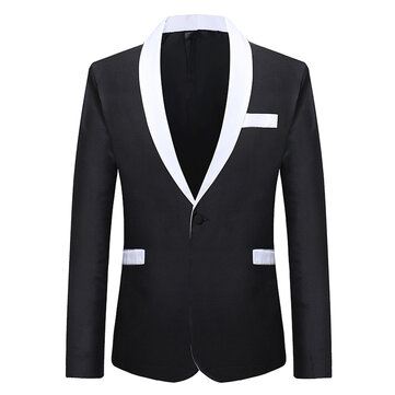 Mens Business Formal Contrast Color Slim Fit Blazer Suits