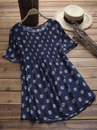 Vintage Polka Dot Print Pleated Short Sleeve Blouse