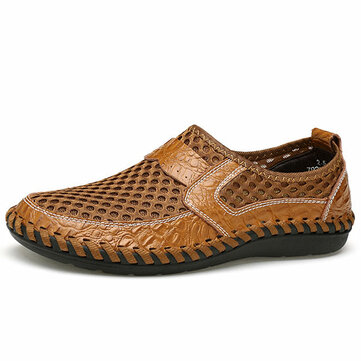 Big Size Men Hand Stitching Breathable Honeycomb Mesh Loafers Flats