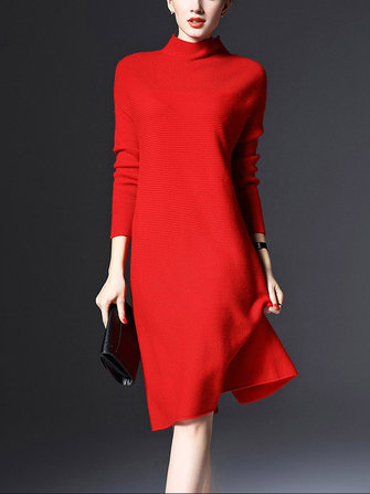 Plus Size Elegant Slim Knitted Sweater Dress Plus Size Coral