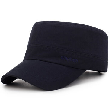 Mens Letter Embroidered Pure Cotton Flat Hat Adjustable Cap