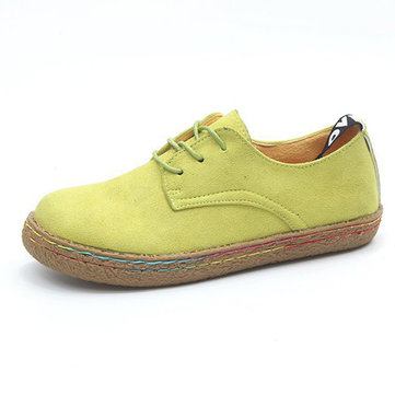US Size 5-11 Women Lace Up Casual Round Toe Comfortable Flat Loafers