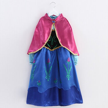 Lovely Baby Girls Splicing Color Printed Irregular Hem Dress With Shawl