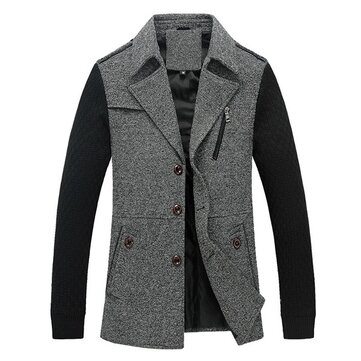 Autumn Mens Knitted Thermal Contrast Color Coat Blend Patchwork Casual Jacket