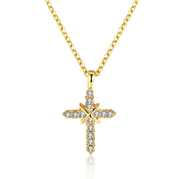 INALIS Fahsion Gold Plated Cross Crystal Necklace for Women