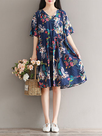 Women Short Sleeve Print V-neck Loose Dresses