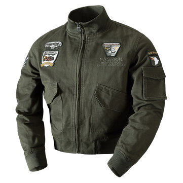 Mens Embroidery Outdoor Military Epaulet Stand Color Jacket